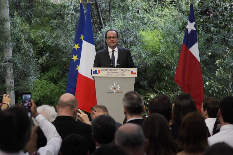 François Hollande con los franceses de Chile y los chilenos amigos de Francia